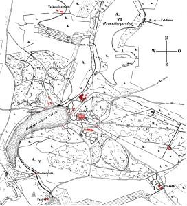 Konopiště a okolí po radikální přestavbě. Pro zvětšení mapy klikněte na obrázek.
